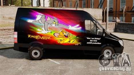 Mercedes-Benz Sprinter Tom and Jerry для GTA 4 вид слева