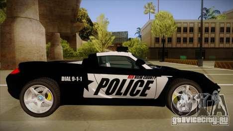 Porsche Carrera GT 2004 Police Black для GTA San Andreas вид сзади слева