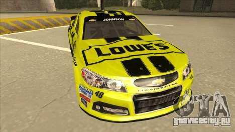 Chevrolet SS NASCAR No. 48 Lowes yellow для GTA San Andreas вид слева