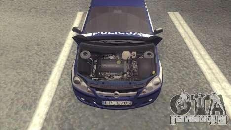 Opel Corsa C Policja для GTA San Andreas вид справа