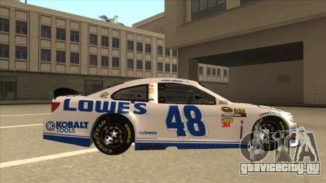 Chevrolet SS NASCAR No. 48 Lowes white для GTA San Andreas вид сзади слева
