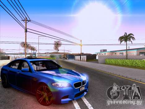 BMW M5 F10 2012 Autovista для GTA San Andreas вид сзади слева