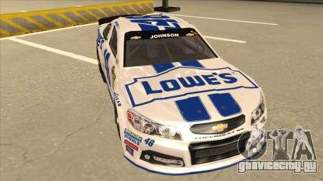 Chevrolet SS NASCAR No. 48 Lowes white для GTA San Andreas вид слева