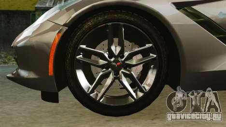 Chevrolet Corvette C7 Stingray 2014 для GTA 4 вид сзади