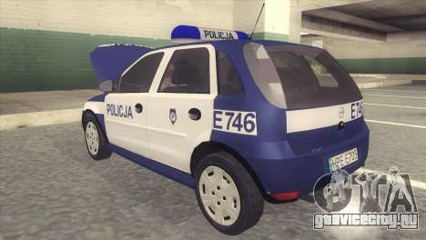 Opel Corsa C Policja для GTA San Andreas вид сзади слева