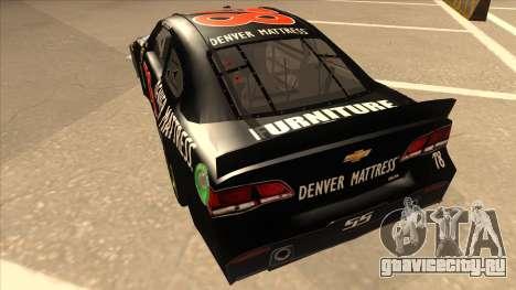 Chevrolet SS NASCAR No. 78 Furniture Row для GTA San Andreas вид сзади