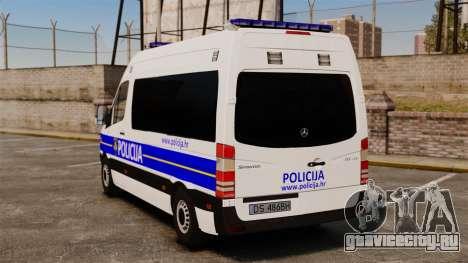 Mercedes-Benz Sprinter Croatian Police [ELS] для GTA 4 вид сзади слева