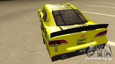 Chevrolet SS NASCAR No. 48 Lowes yellow для GTA San Andreas вид сзади