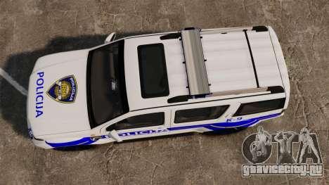 Nissan Pathfinder Croatian Police [ELS] для GTA 4 вид справа