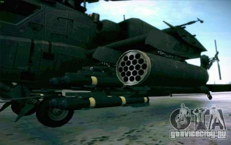 AH-64 Apache для GTA San Andreas вид изнутри