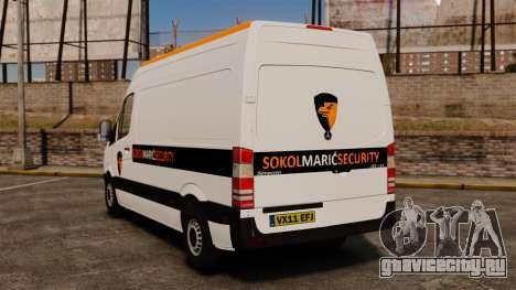 Mercedes-Benz Sprinter Sokol Maric Security для GTA 4 вид сзади слева