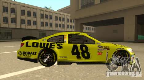 Chevrolet SS NASCAR No. 48 Lowes yellow для GTA San Andreas вид сзади слева