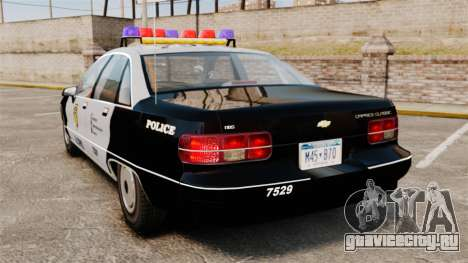 Chevrolet Caprice Police 1991 v2.0 LCPD для GTA 4 вид сзади слева