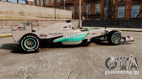 Mercedes AMG F1 W04 v5 для GTA 4 вид слева