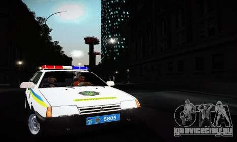 ВАЗ 2108 ДПС Украина для GTA San Andreas вид слева