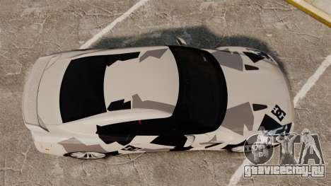 Nissan GT-R Black Edition 2012 Ski Slope Camo для GTA 4 вид справа