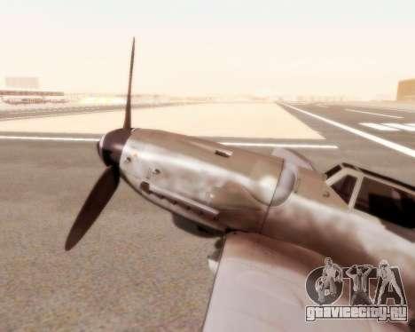 Bf-109 G10 для GTA San Andreas вид сзади слева