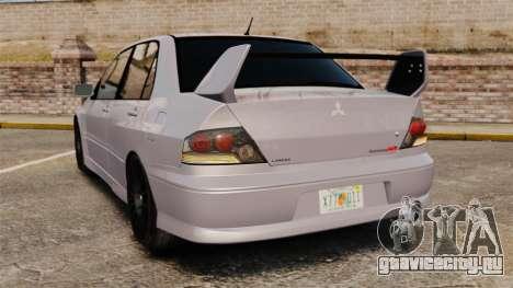 Mitsubitsi Lancer MR Evolution VIII 2004 Stock для GTA 4 вид сзади слева