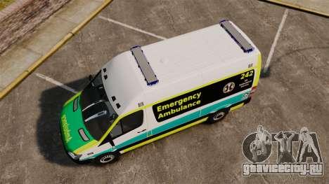 Mercedes-Benz Sprinter Australian Ambulance ELS для GTA 4 вид справа