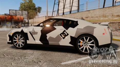 Nissan GT-R Black Edition 2012 Ski Slope Camo для GTA 4 вид слева
