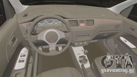 Mitsubitsi Lancer MR Evolution VIII 2004 Stock для GTA 4 вид изнутри