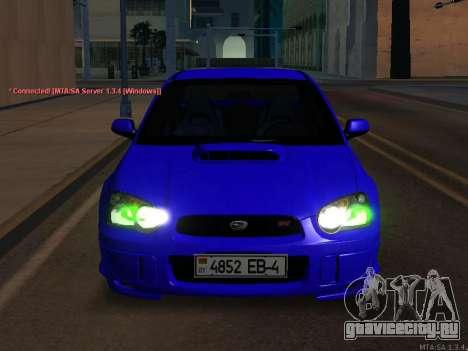 Subaru Impreza WRX STi для GTA San Andreas вид изнутри