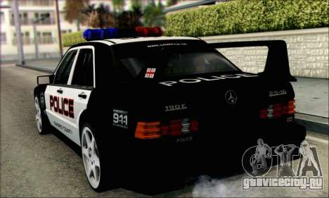 Mercedes-Benz 190E Evolution Police для GTA San Andreas вид сзади слева
