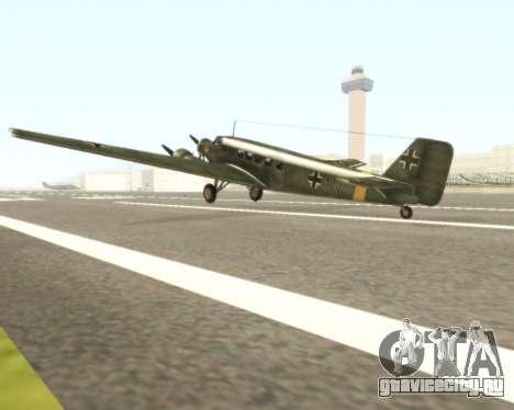 Junkers Ju-52 для GTA San Andreas вид сзади слева
