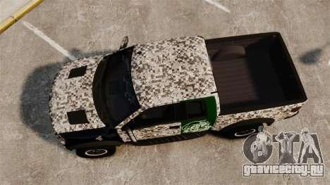 Ford F-150 SVT Raptor 2011 ArmyRat для GTA 4 вид справа