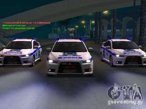 Mitsubishi Lancer X Милиция для GTA San Andreas вид слева