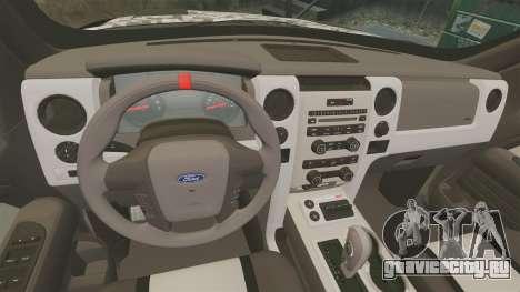 Ford F-150 SVT Raptor 2011 ArmyRat для GTA 4 вид изнутри