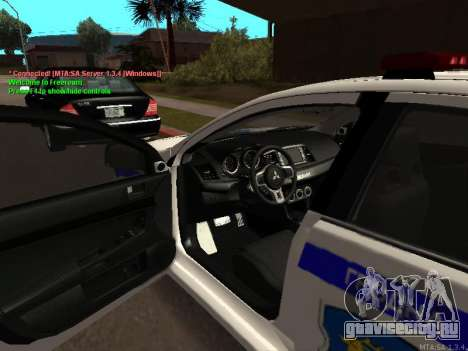 Mitsubishi Lancer X Милиция для GTA San Andreas вид сзади слева
