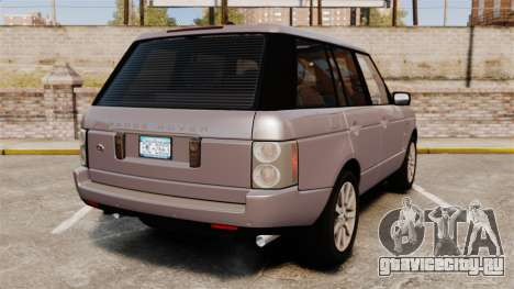 Range Rover Supercharged для GTA 4 вид сзади слева