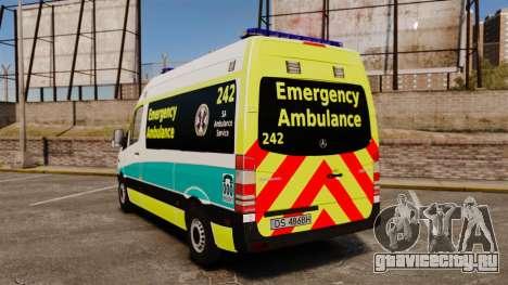Mercedes-Benz Sprinter Australian Ambulance ELS для GTA 4 вид сзади слева