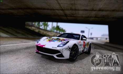 Ferrari F12 Berlinetta Horizon Wheels для GTA San Andreas вид изнутри
