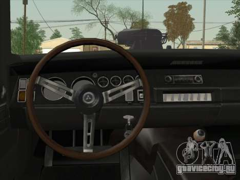 Dodge Charger RT V2 для GTA San Andreas вид изнутри