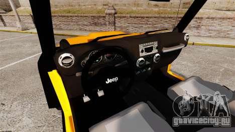 Jeep Wrangler Rubicon 2012 для GTA 4 вид сзади