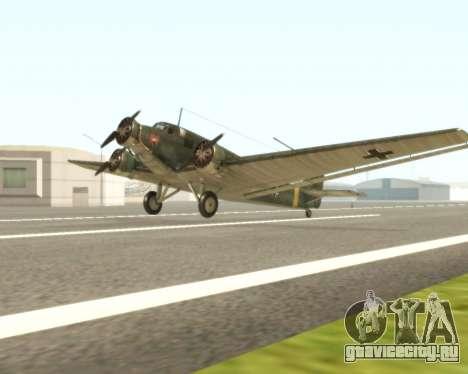 Junkers Ju-52 для GTA San Andreas вид слева