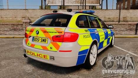 BMW 550d Touring Metropolitan Police [ELS] для GTA 4 вид сзади слева