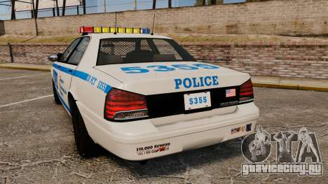 GTA V Vapid Police Cruiser NYPD для GTA 4 вид сзади слева