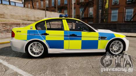 BMW M3 British Police [ELS] для GTA 4 вид слева