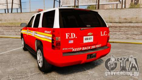 Chevrolet Tahoe Fire Chief v1.4 [ELS] для GTA 4 вид сзади слева