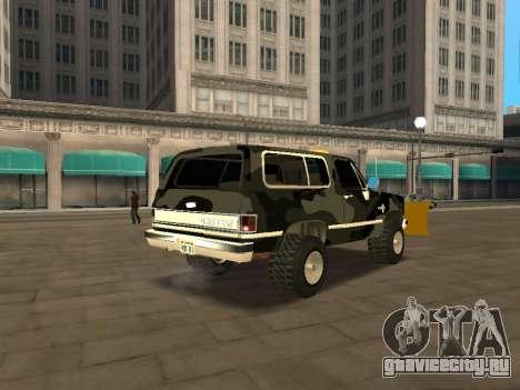 Chevrolet Blazer для GTA San Andreas вид сзади слева