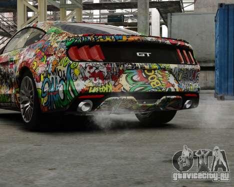 Ford Mustang GT 2015 Sticker Bombed для GTA 4 вид слева
