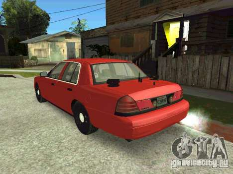 Ford Crown Victoria Unmarked Police для GTA San Andreas вид сзади слева