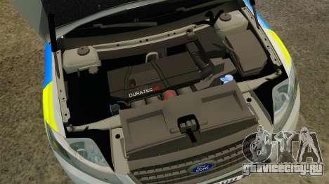 Ford Mondeo Metropolitan Police [ELS] для GTA 4 вид изнутри