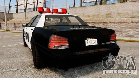 GTA V Vapid Police Cruiser LSPD для GTA 4 вид сзади слева