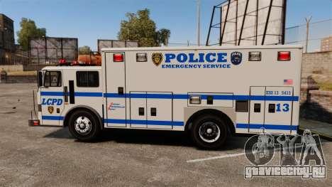 Hazmat Truck LCPD [ELS] для GTA 4 вид слева