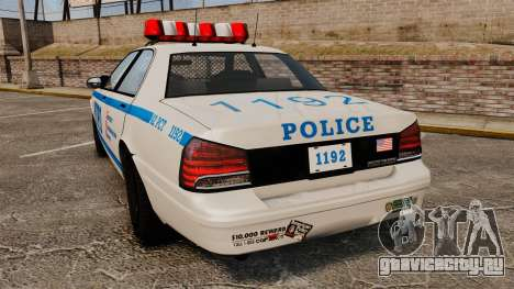 GTA V Police Vapid Cruiser NYPD для GTA 4 вид сзади слева