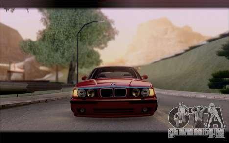 BMW E34 для GTA San Andreas вид изнутри